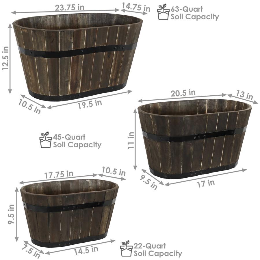 Sunnydaze Oval Acacia Wood Outdoor Barrel Planters - Set of 3