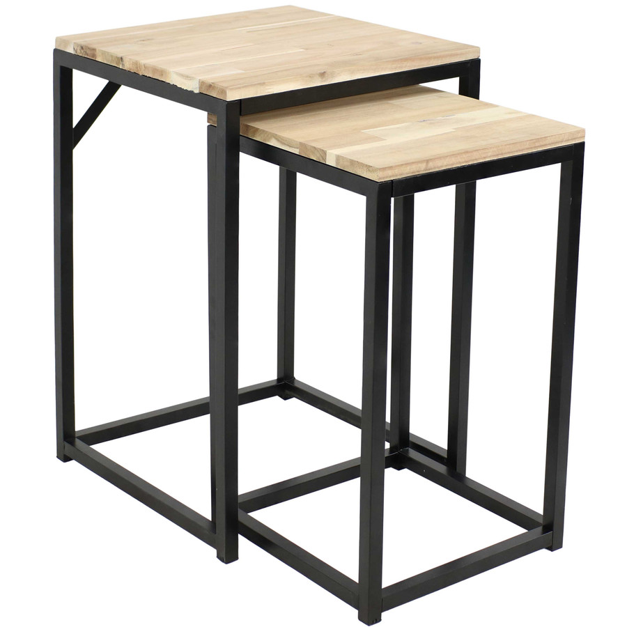 Sunnydaze Square Indoor Unfinished Acacia Wood Plant Tables - Set of 2
