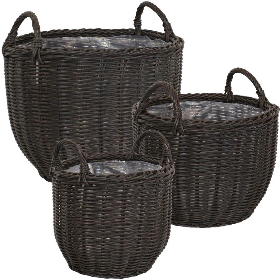 Sunnydaze Round Short Polyrattan Basket Planter with Handles - Set of 3