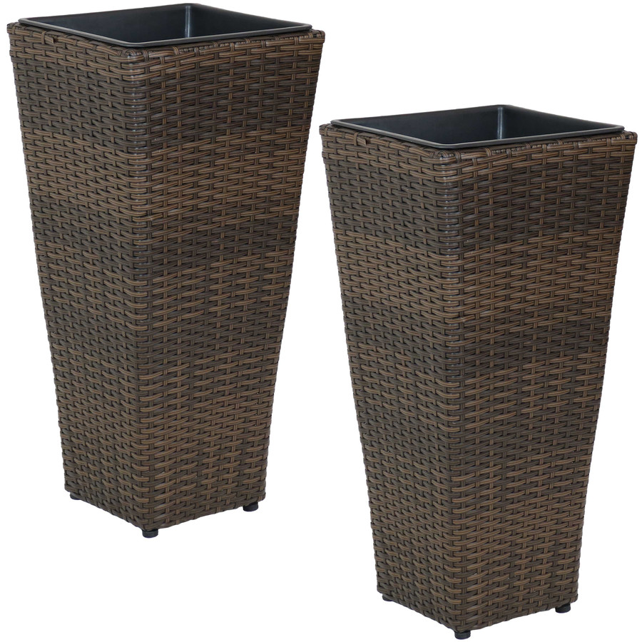 Sunnydaze Tall Square Brown Indoor/Outdoor Polyrattan Planters - Set of 2 - 24-Inch