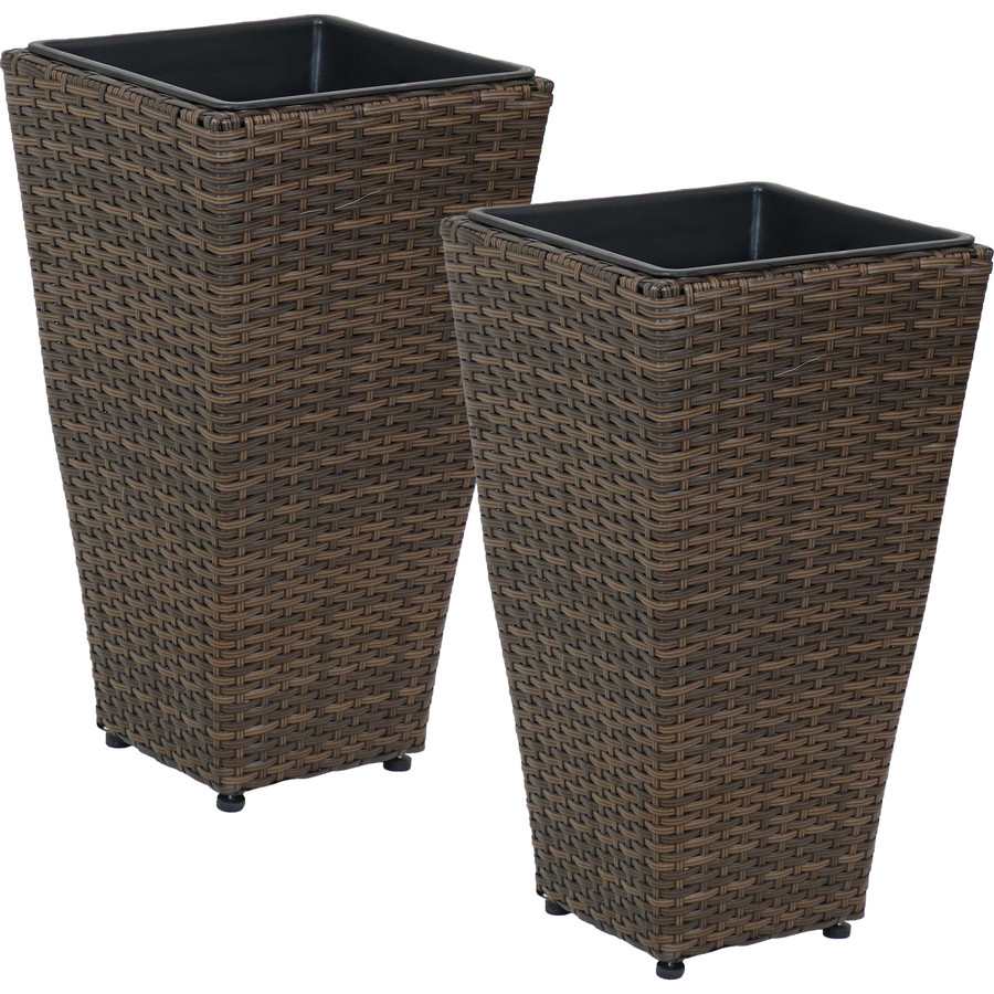 Sunnydaze Tall Square Brown Indoor/Outdoor Polyrattan Planters - Set of 2 - 20-Inch