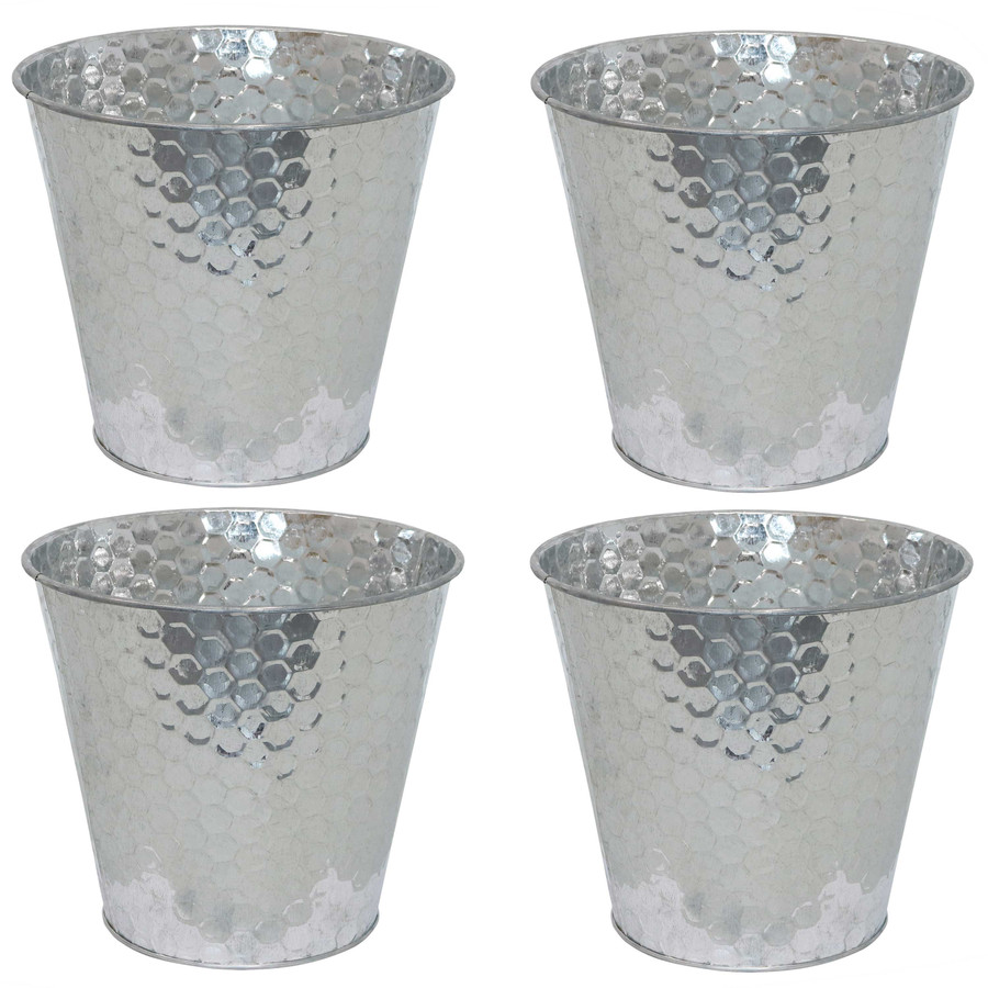 Sunnydaze Steel Planter with Hexagon Pattern - Set of 4 - Silver