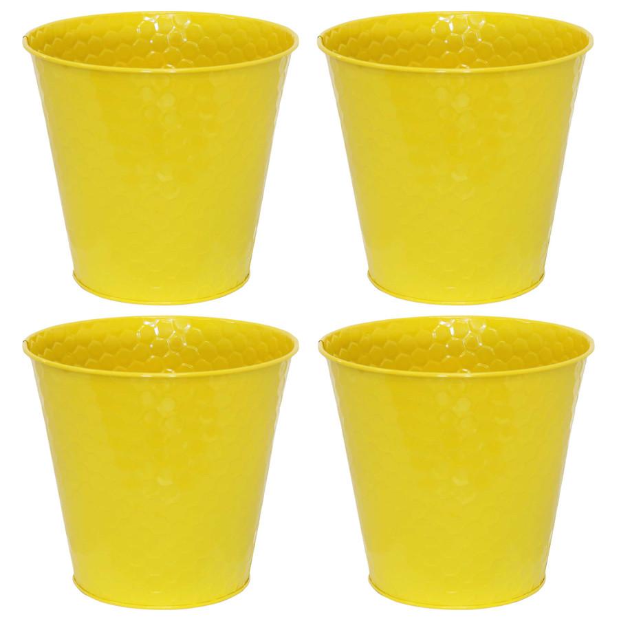 Sunnydaze Steel Planter with Hexagon Pattern - Set of 4 - Yellow