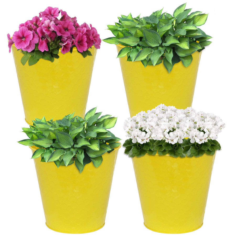 Sunnydaze Steel Planter with Hexagon Pattern - Set of 4 - Yellow
