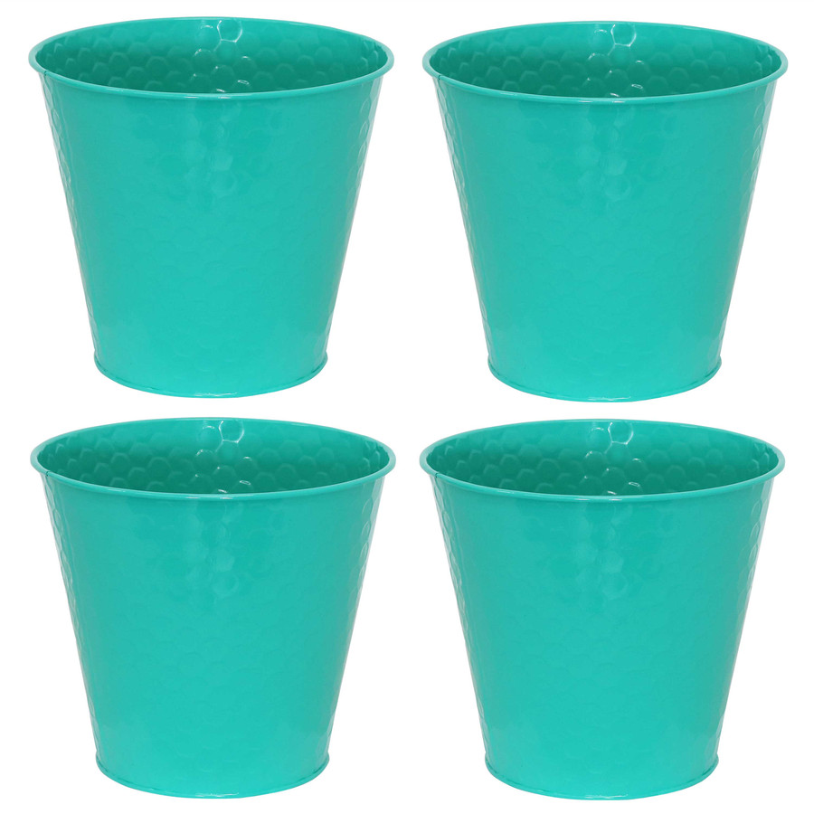 Sunnydaze Steel Planter with Hexagon Pattern - Teal - Set of 4