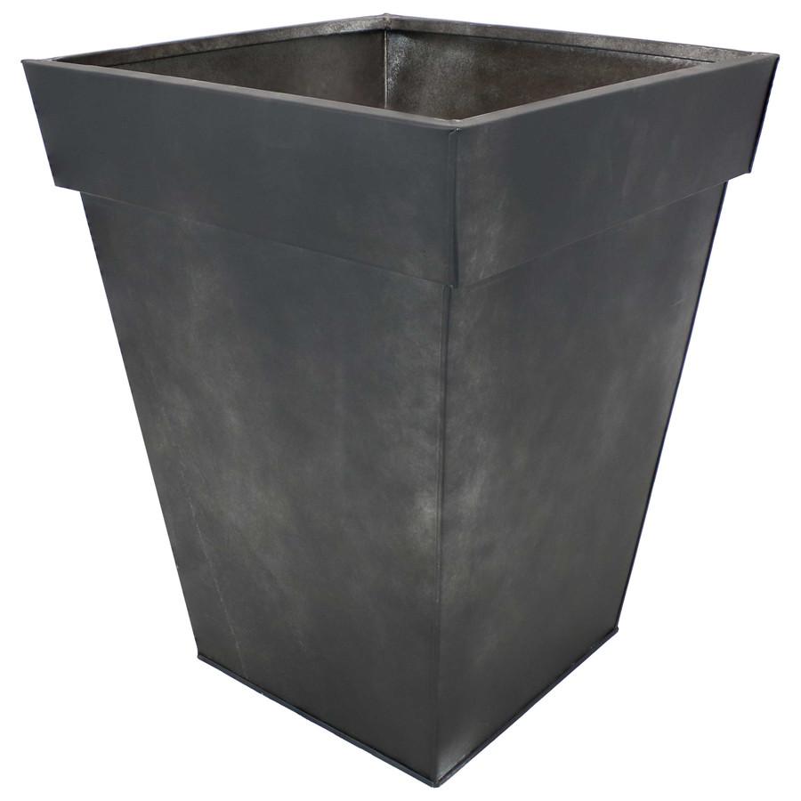 Sunnydaze Square Indoor/Outdoor Galvanized Steel Planter - Single - Charcoal