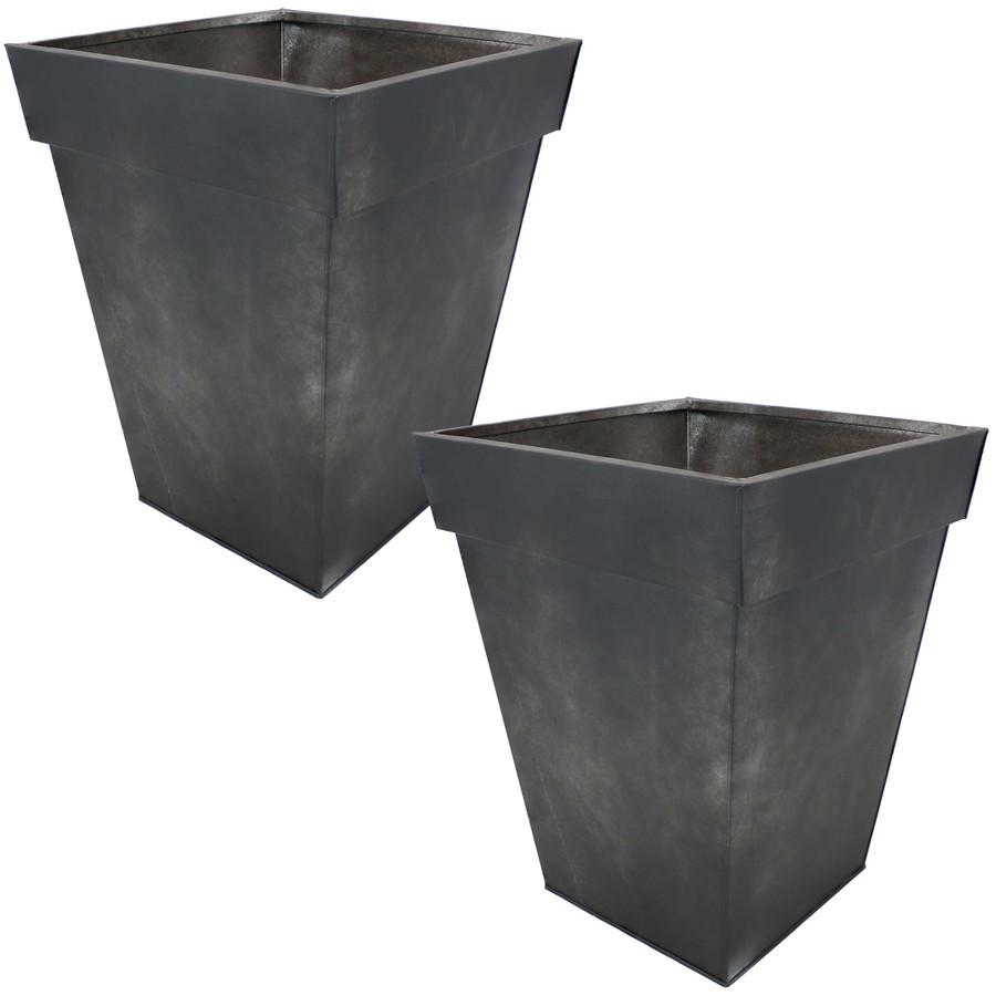 Sunnydaze Square Indoor/Outdoor Galvanized Steel Planter - Set of 2- Charcoal