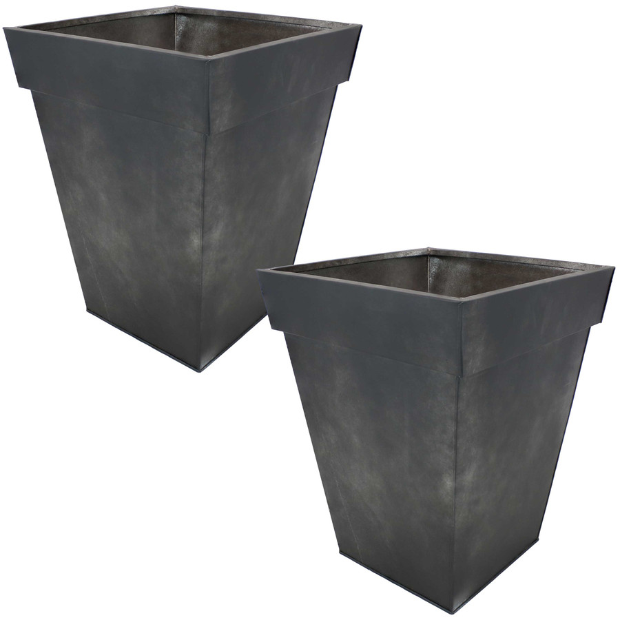 Sunnydaze Square Indoor/Outdoor Galvanized Steel Planter - Set of 2- Charcoal