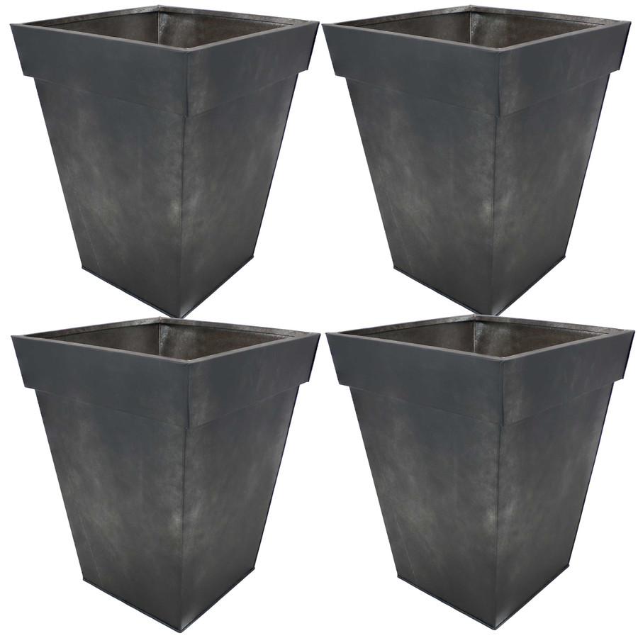 Sunnydaze Square Indoor/Outdoor Galvanized Steel Planter - Set of 4 - Charcoal