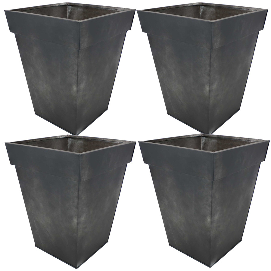Sunnydaze Square Indoor/Outdoor Galvanized Steel Planter - Set of 4 - Charcoal