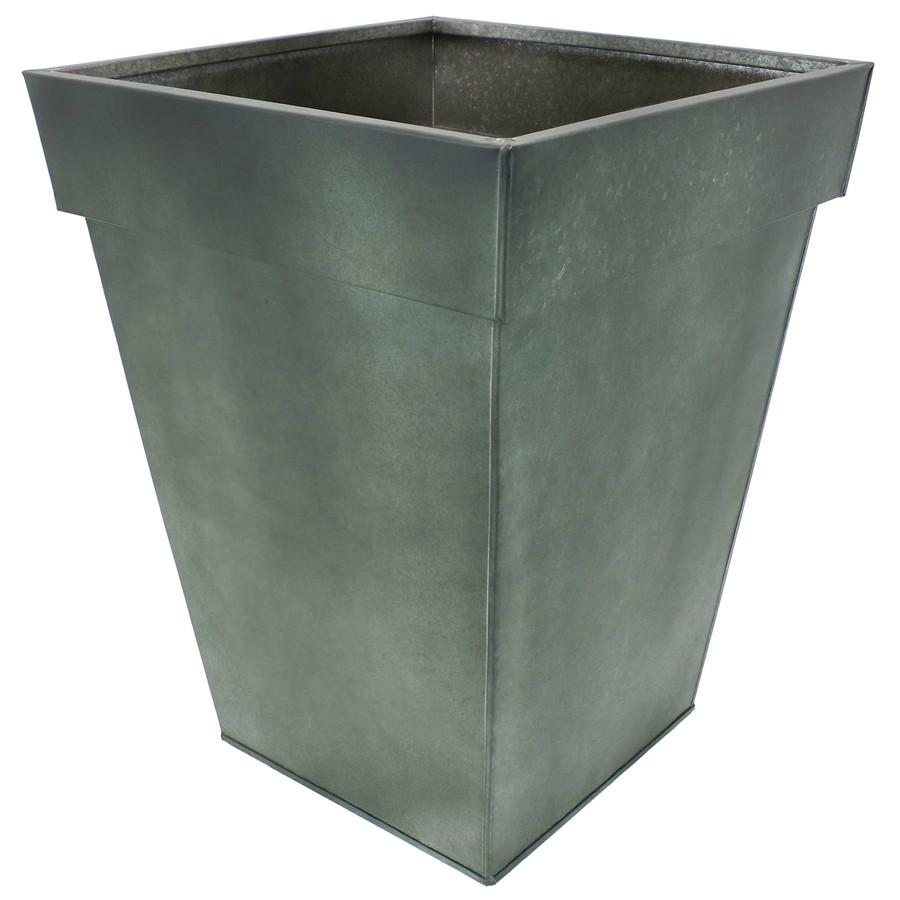 Sunnydaze Square Indoor/Outdoor Galvanized Steel Planter - Single - Moss