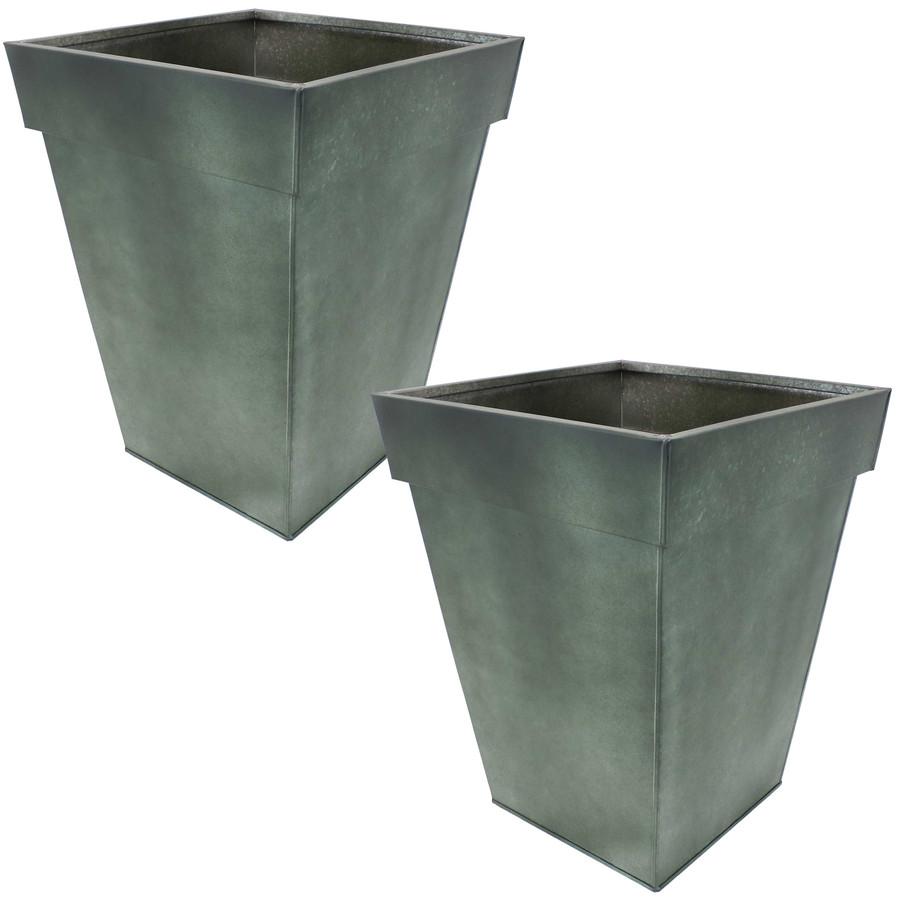 Sunnydaze Square Indoor/Outdoor Galvanized Steel Planter - Set of 2 - Moss
