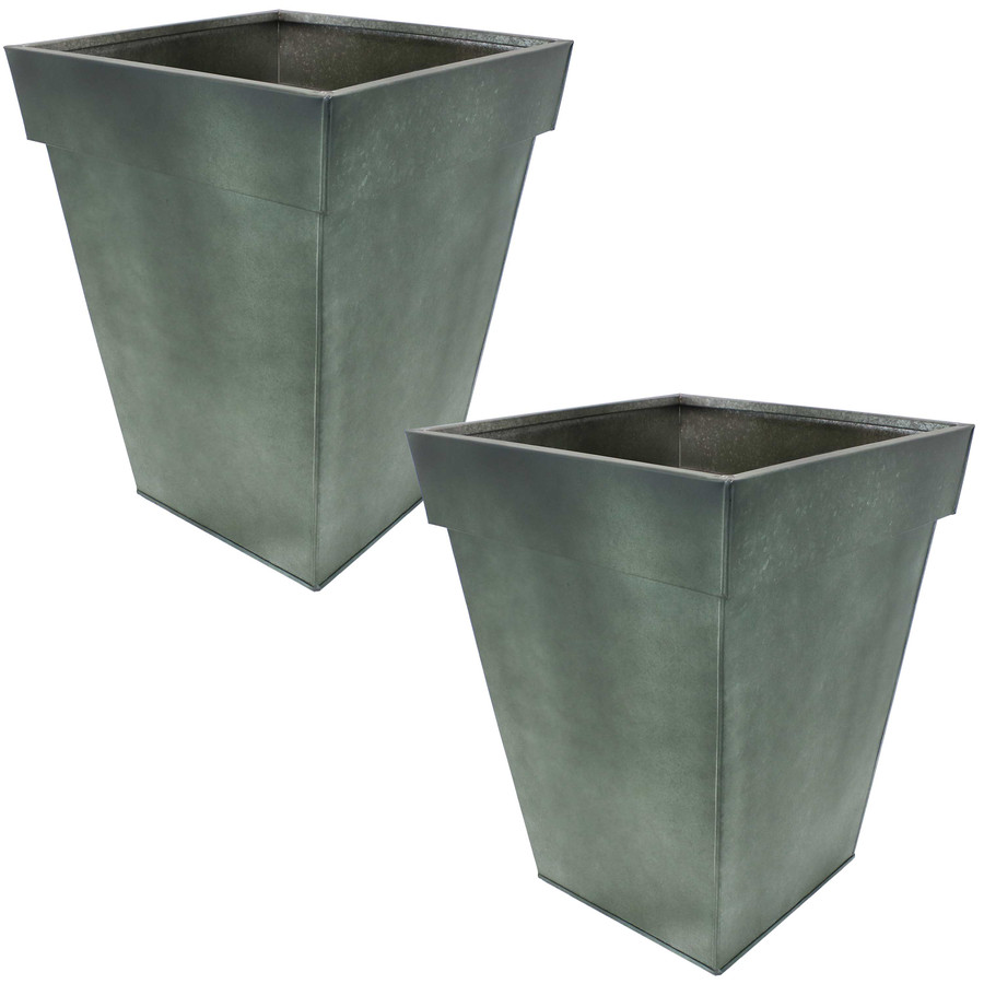Sunnydaze Square Indoor/Outdoor Galvanized Steel Planter - Set of 2 - Moss