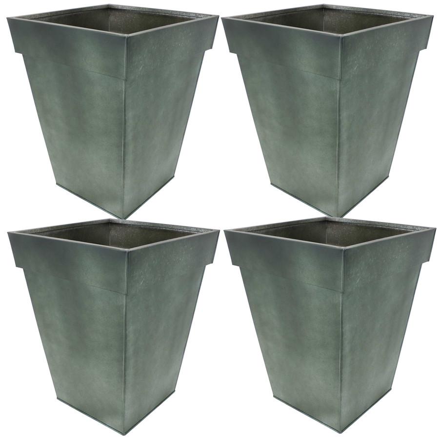 Sunnydaze Square Indoor/Outdoor Galvanized Steel Planter - Set of 4 - Moss