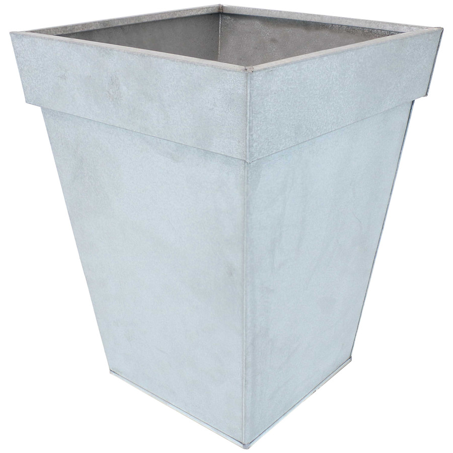 Sunnydaze Square Indoor/Outdoor Galvanized Steel Planter - Single - Mist