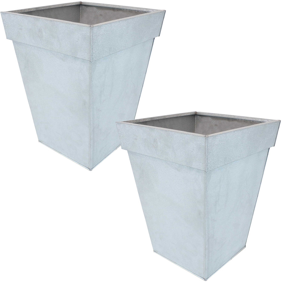 Sunnydaze Square Indoor/Outdoor Galvanized Steel Planter - Set of 2 - Mist