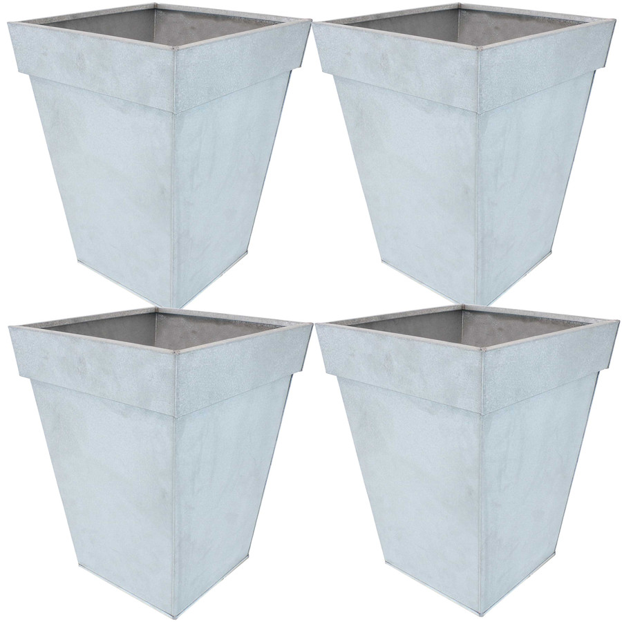 Sunnydaze Square Indoor/Outdoor Galvanized Steel Planter - Set of 4 - Mist
