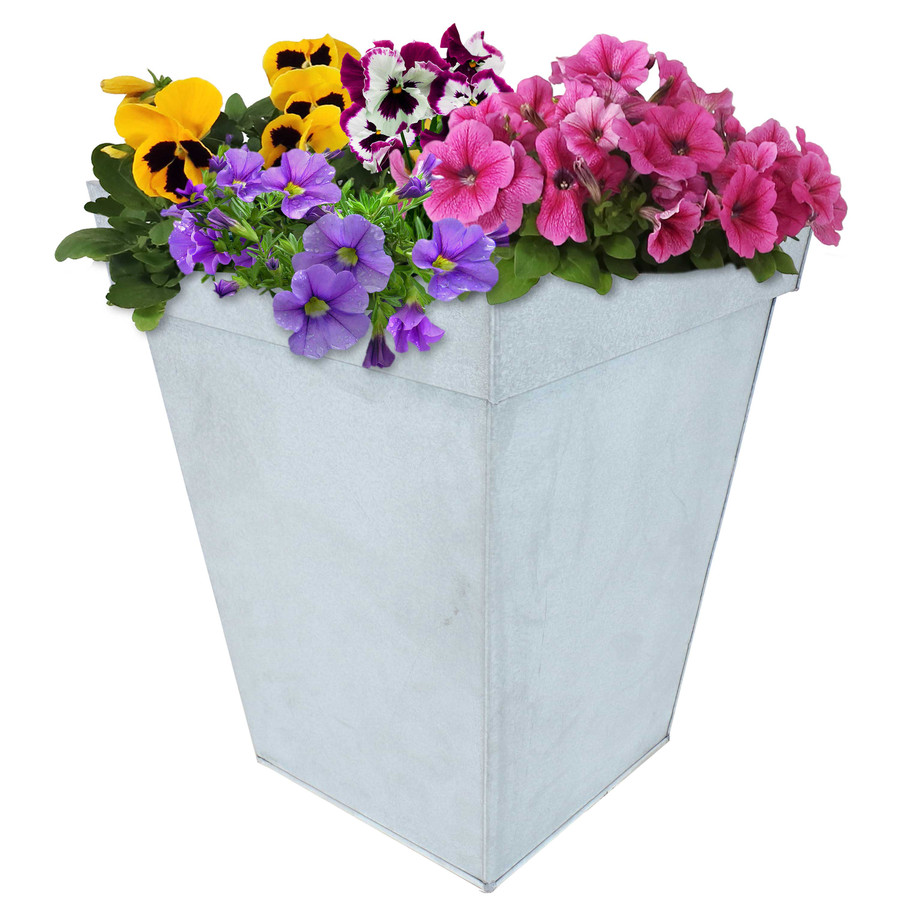 Sunnydaze Square Indoor/Outdoor Galvanized Steel Planter - Single - Mist