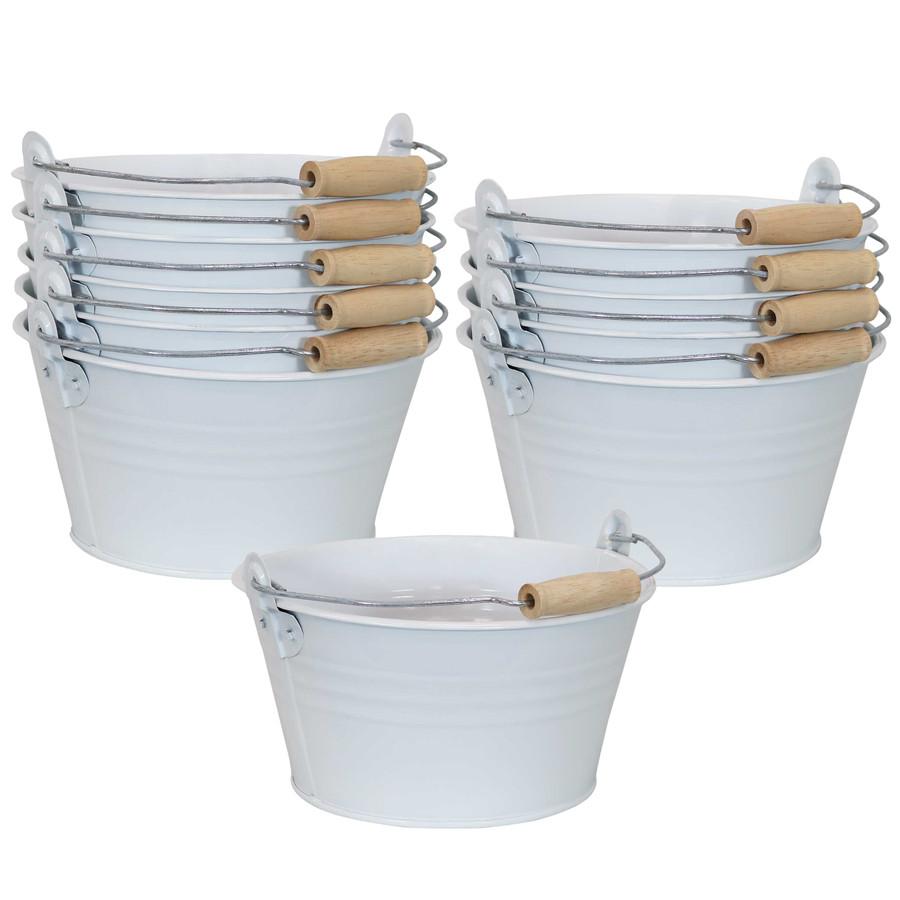 Sunnydaze Galvanized Steel Bucket Planter with Handle - White