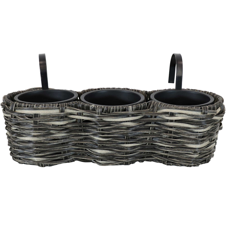 Sunnydaze Round Polyrattan Over-the-Rail Tri-Planter