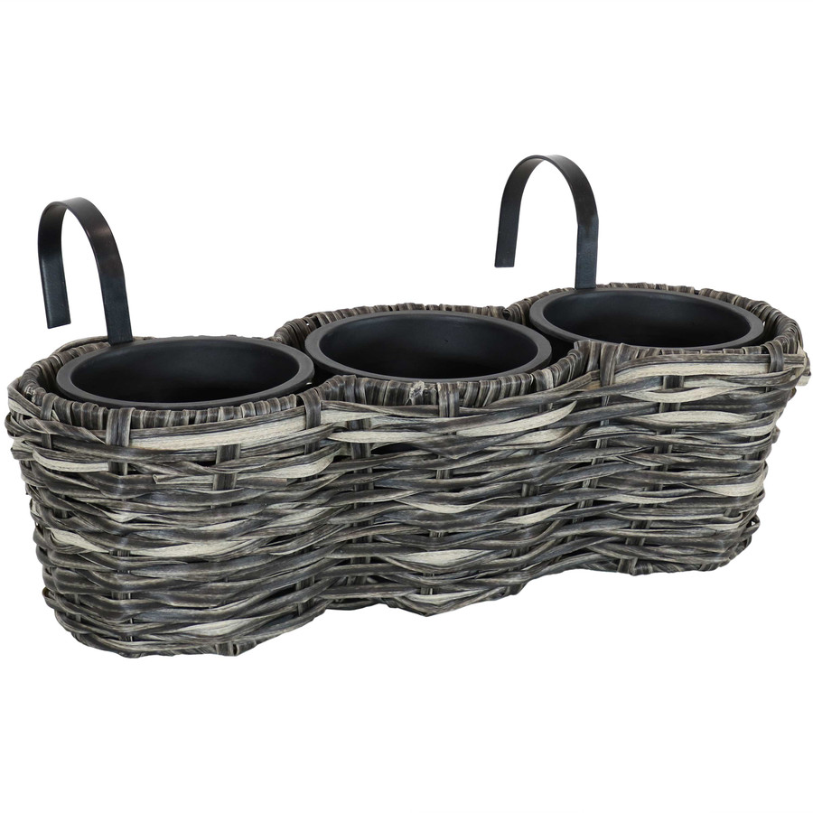 Sunnydaze Round Polyrattan Over-the-Rail Tri-Planter - Charcoal