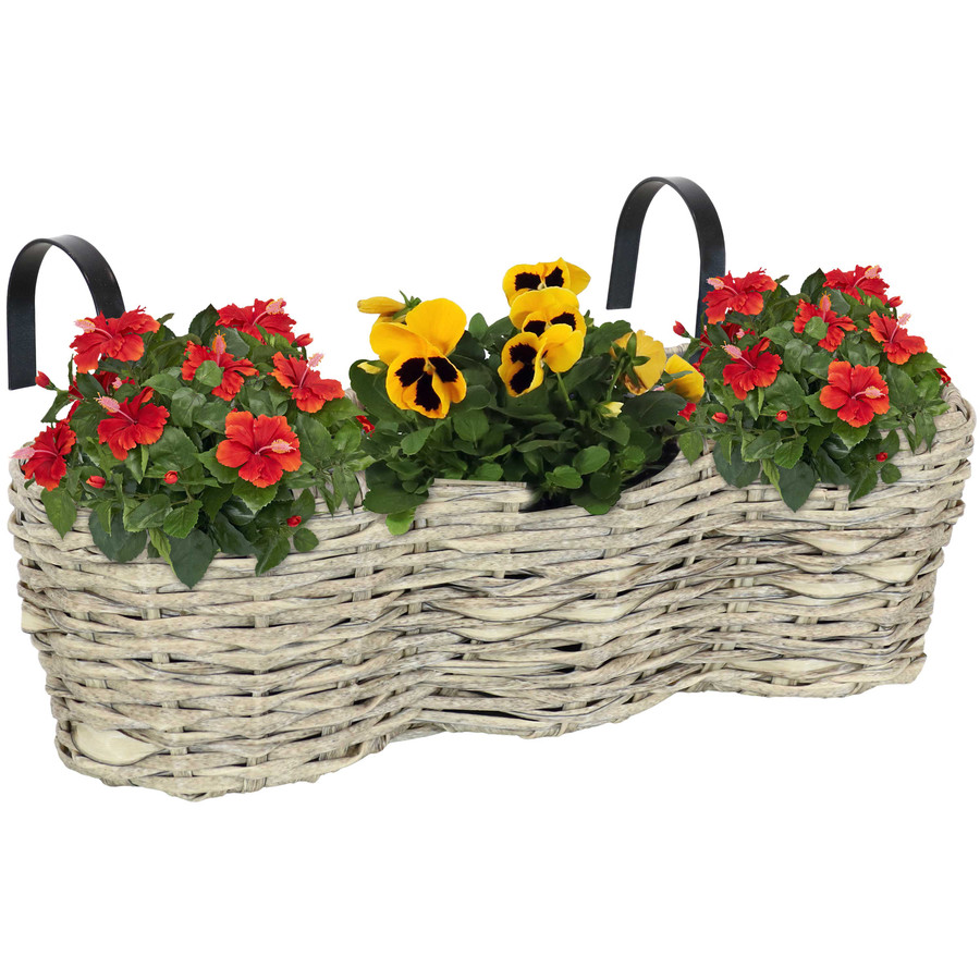 Sunnydaze Round Polyrattan Over-the-Rail Tri-Planter - Frost