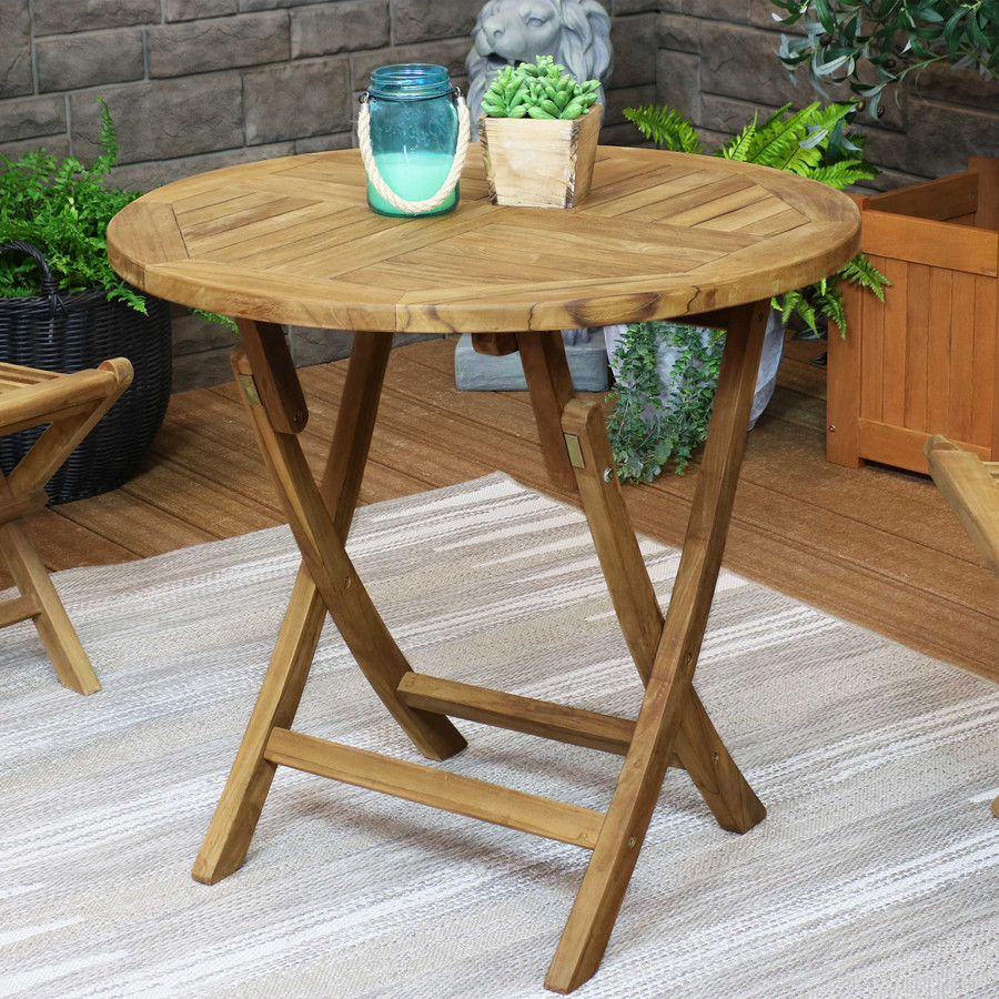 Sunnydaze Round Folding Solid Teak Outdoor Dining Table - 31-Inch - Light Wood Stain Finish