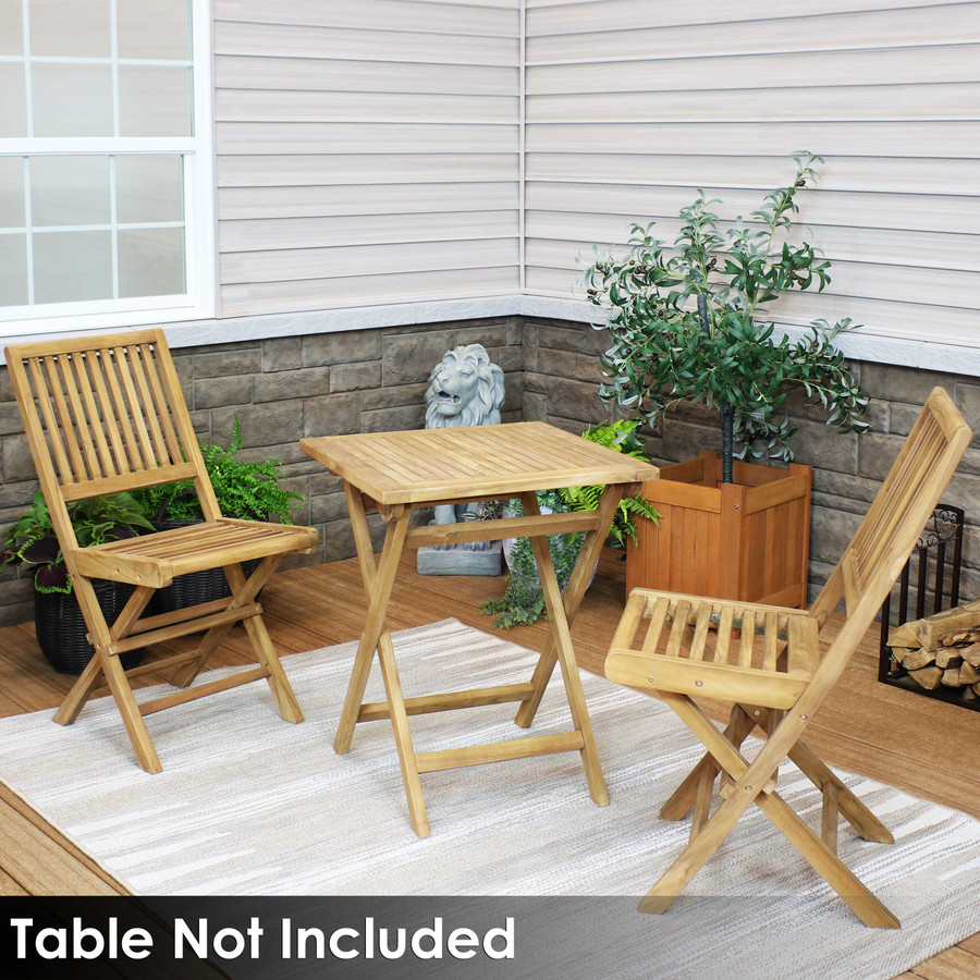 Sunnydaze Hyannis Solid Teak Outdoor Folding Dining Chair - Light Wood Stain Finish