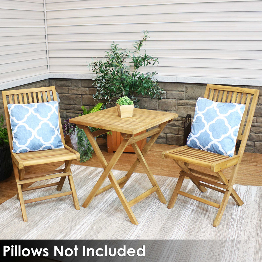 Sunnydaze Nantasket 3-Piece Solid Teak Outdoor Folding Bistro Set - 2 Chairs and 1 Table - Light Wood Stain Finish