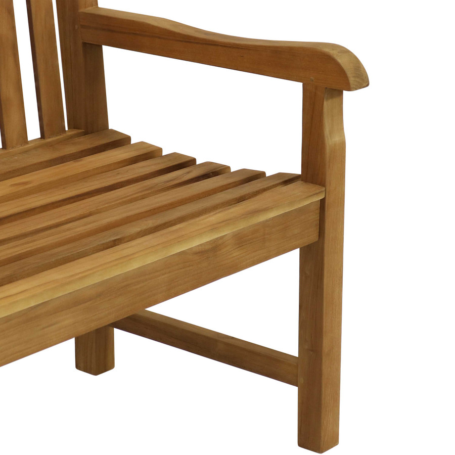 Sunnydaze  Solid Teak Outdoor Bench - Light Brown Wood Stain Finish - Mission Style - 59 Inches Long