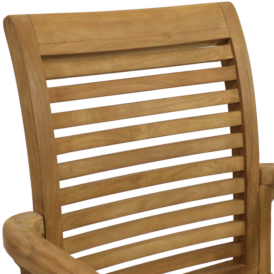 Sunnydaze  Solid Teak Outdoor Armchair - Light Brown Wood Stain Finish