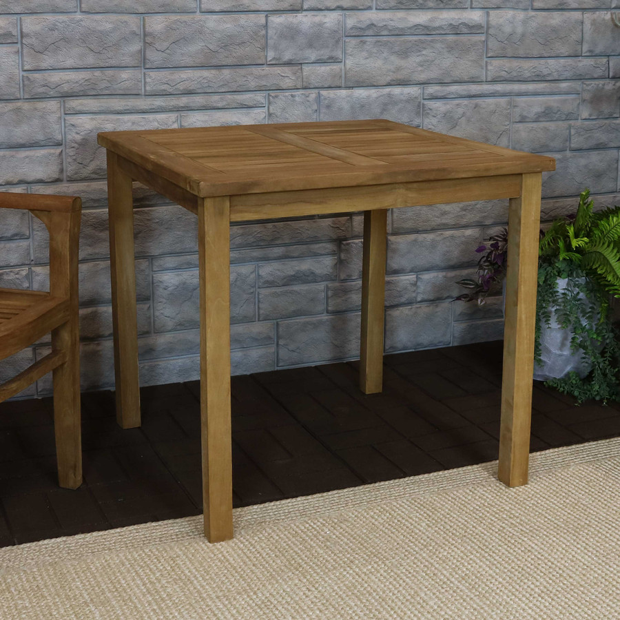 Sunnydaze  Solid Teak Outdoor Dining Table - Light Brown Wood Stain Finish - Square - 32 Inches Long