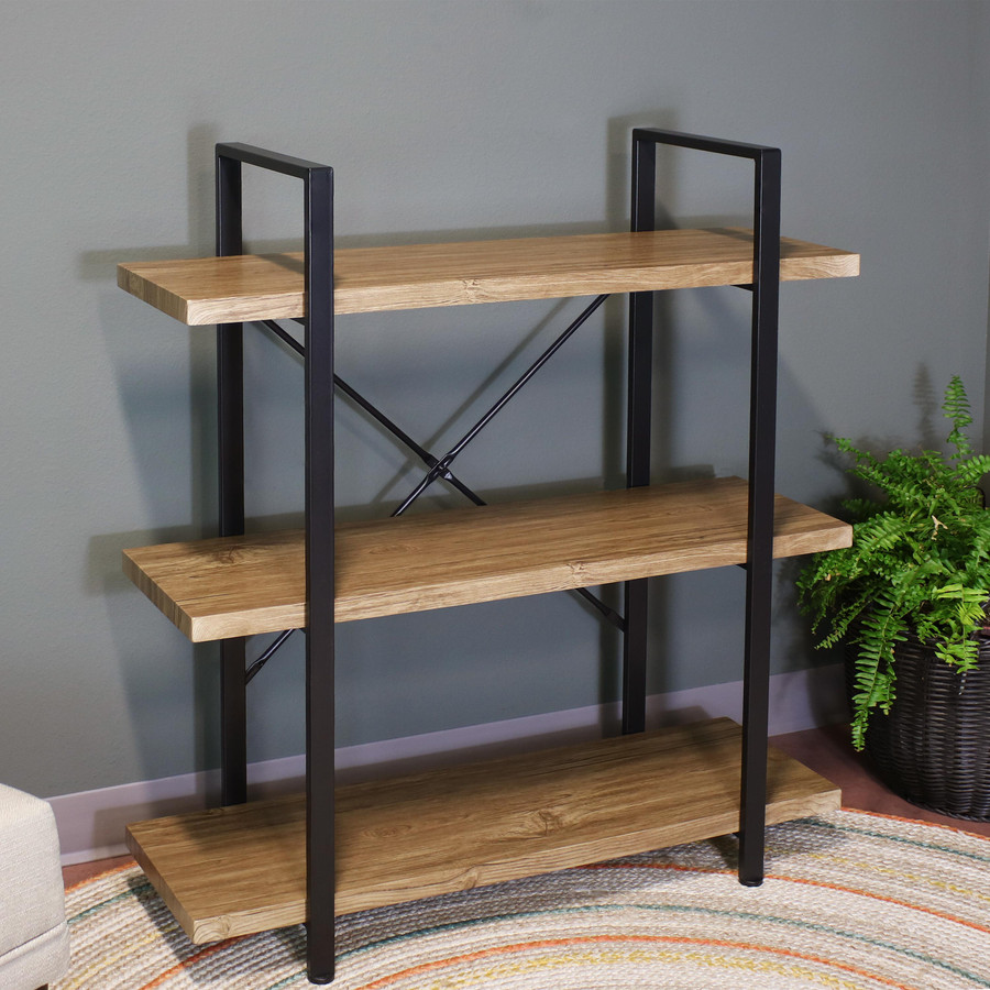 Sunnydaze 3-Tier Book Shelf - Industrial Style with Freestanding Open Shelves with Veneer Finish