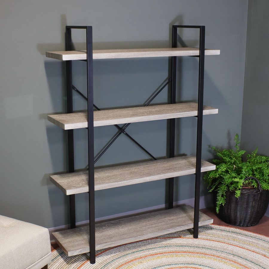 Sunnydaze 4-Tier Book Shelf - Industrial Style with Freestanding Open Shelves with Veneer Finish