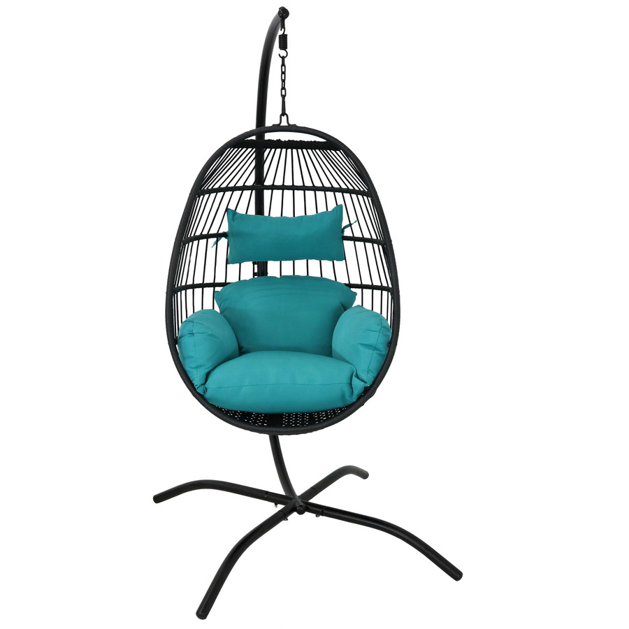 Dalia Steel Hanging Egg Chair with Cushions and Steel Stand, Front View