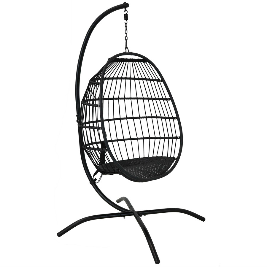 Dalia Steel Hanging Egg Chair and Steel Stand, Shown without Cushions