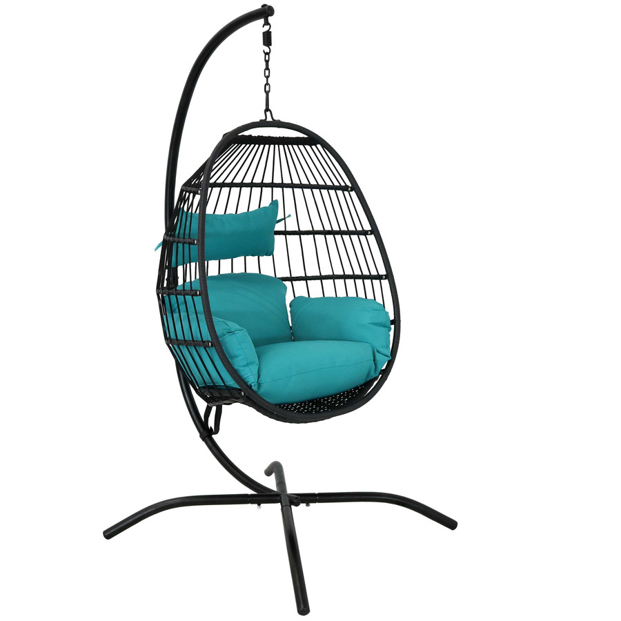 Dalia Steel Hanging Egg Chair with Cushions and Steel Stand