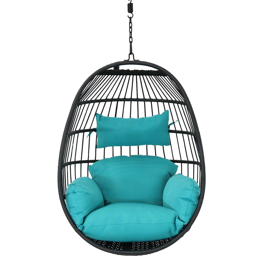 Dalia Steel Hanging Egg Chair with Cushions, Front View