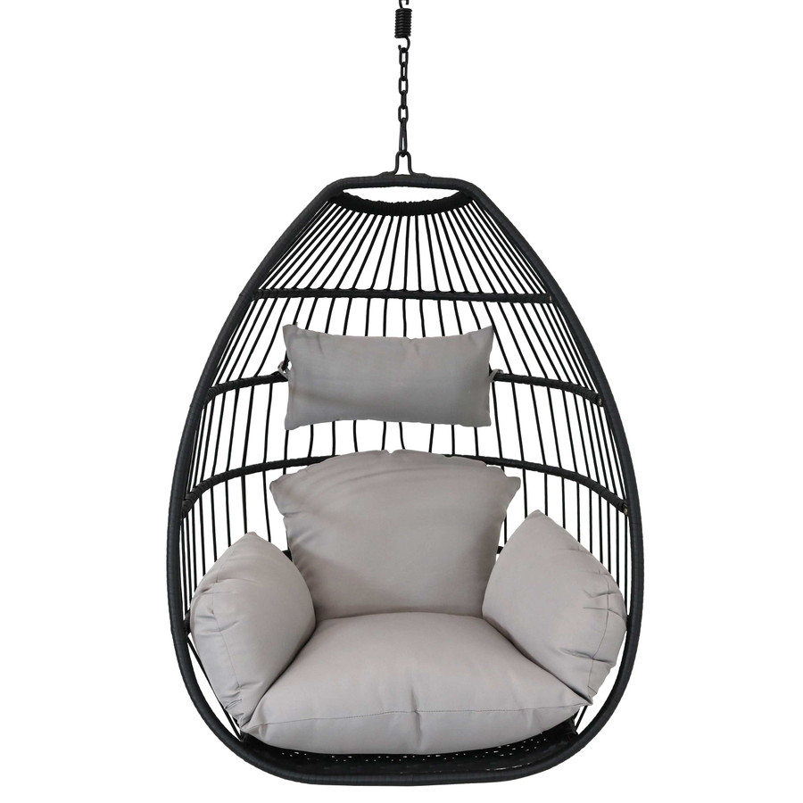 Delaney Steel Hanging Egg Chair with Cushions