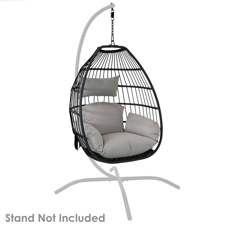 Delaney Steel Hanging Egg Chair with Cushions, Shown on Stand (Stand NOT Included)