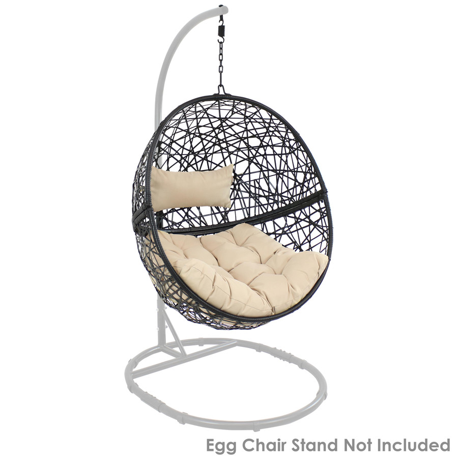 Jackson Hanging Egg Chair with Cushions, Cream (Stand NOT Included)