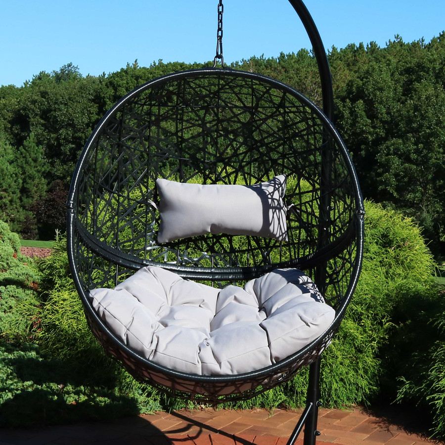 Jackson Hanging Egg Chair with Cushions, Gray