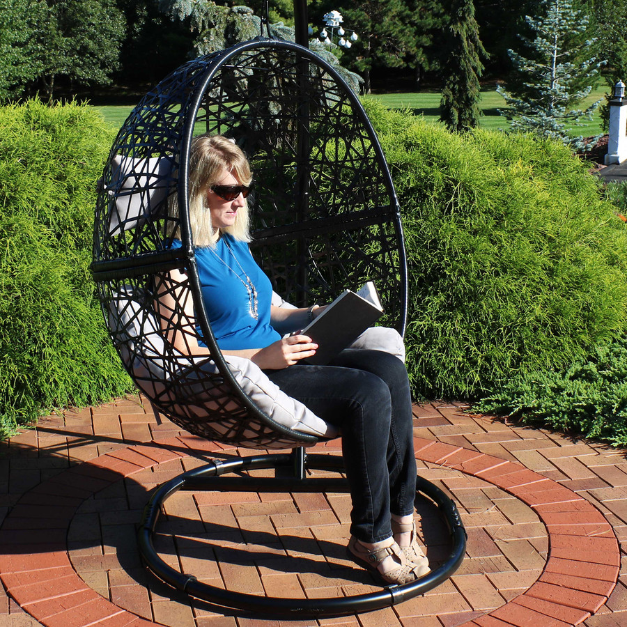 Jackson Hanging Egg Chair with Cushions, 45-Inch