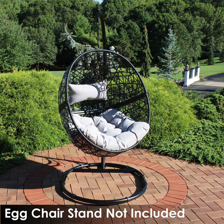 Jackson Hanging Egg Chair with Cushions, Gray (Stand NOT Included)