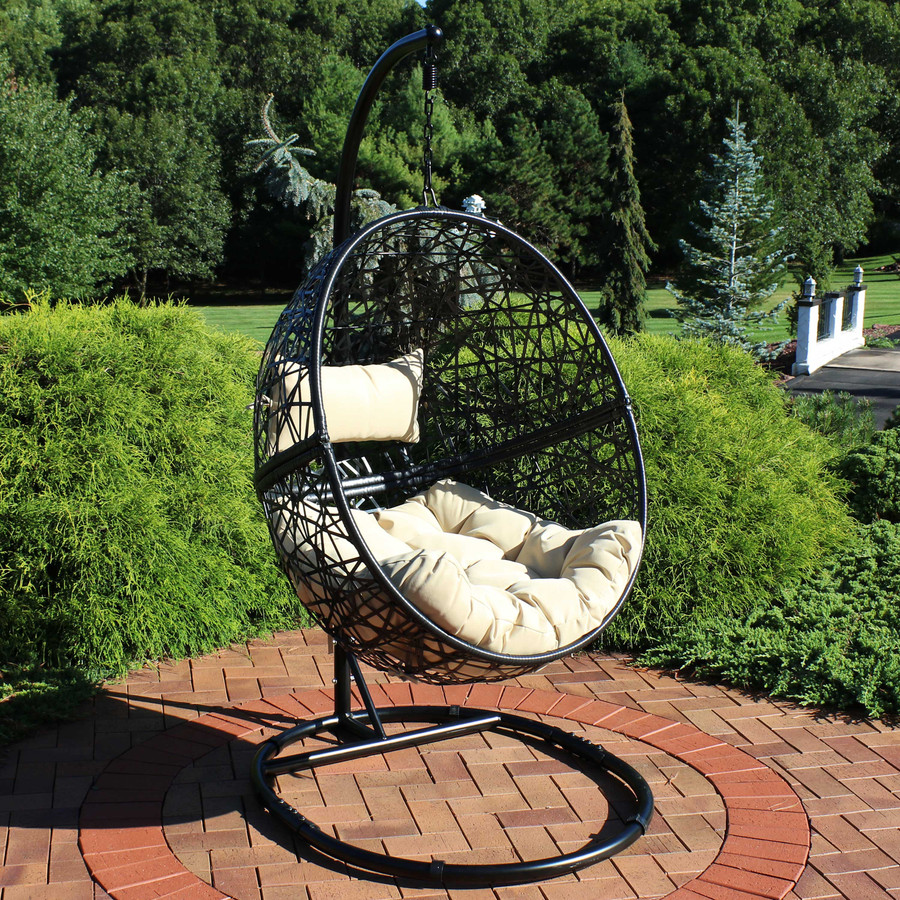 Jackson Hanging Egg Chair with Steel Stand and Cushions, Cream