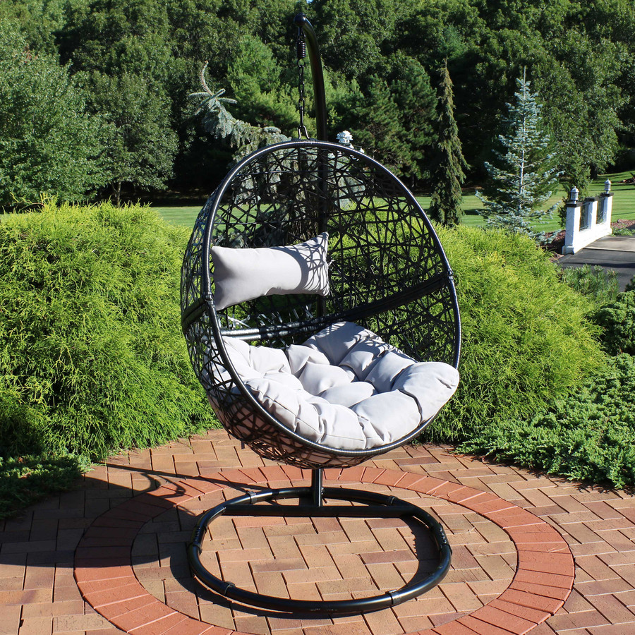 Jackson Hanging Egg Chair with Steel Stand and Cushions, Gray