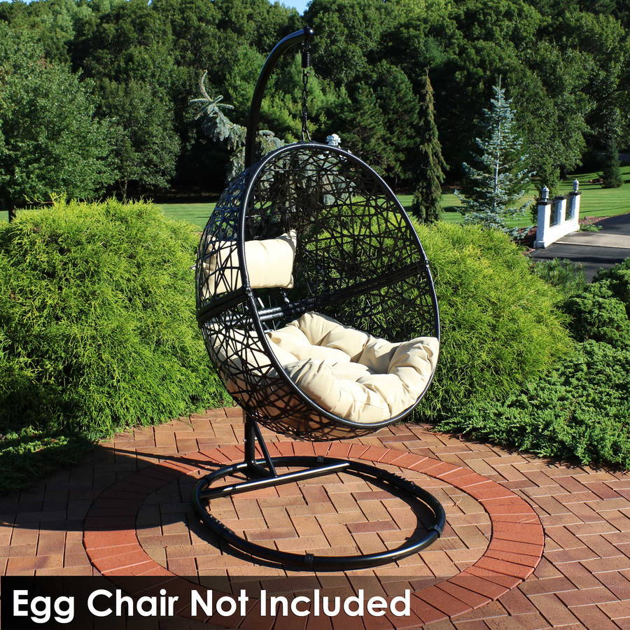 Black Steel Hanging Egg Chair Stand with Extra-Wide Round Base