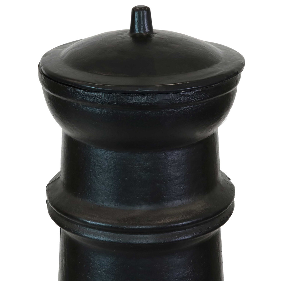 Closeup of Top of Chiminea with Cap