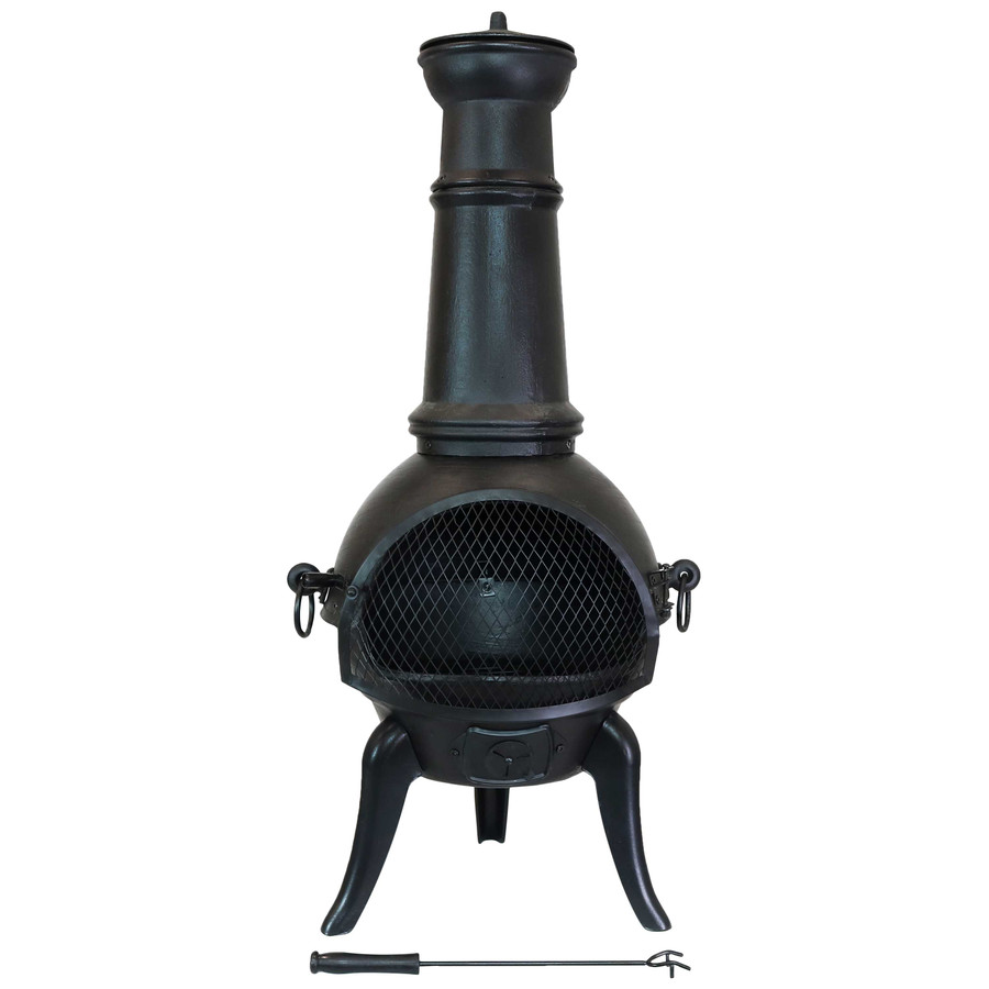 Pioneer Black Cast Iron Outdoor Chiminea