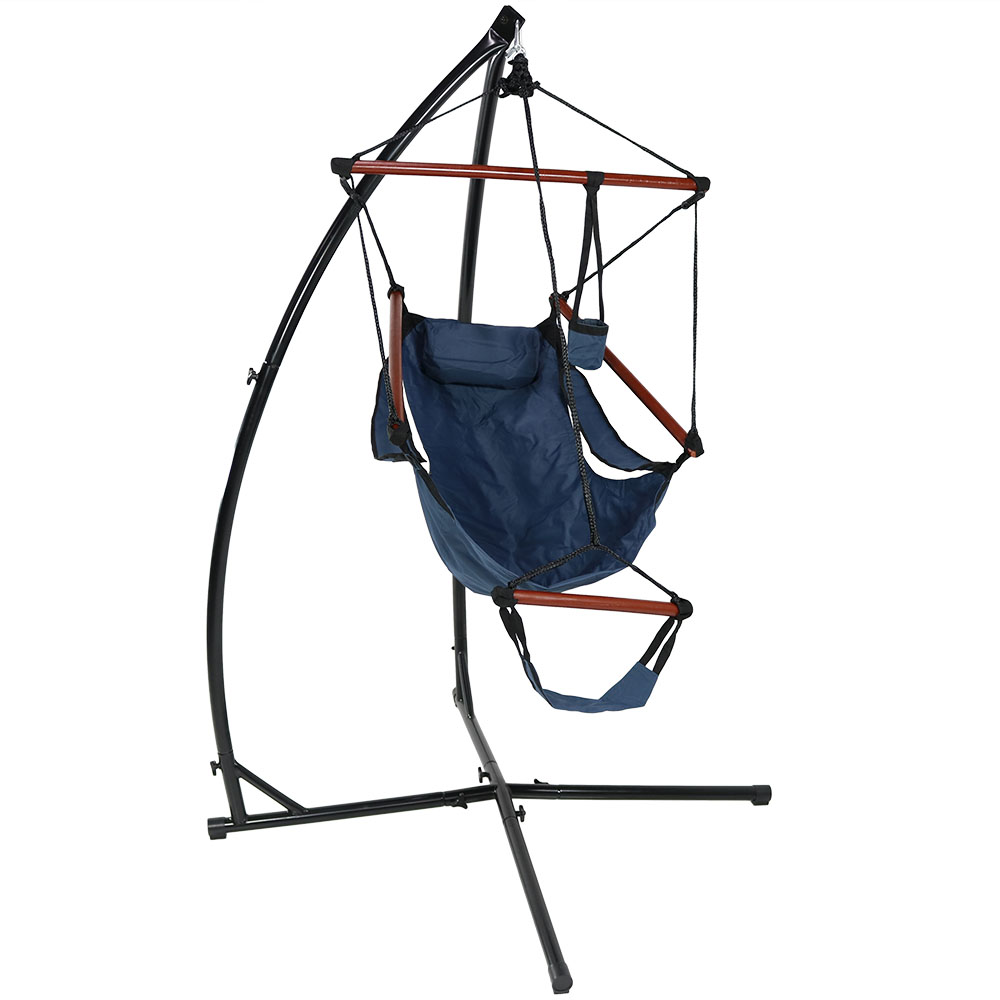 Wondrous Sunnydaze Hanging Hammock Chair With Pillow Drink Holder And X Stand Short Links Chair Design For Home Short Linksinfo
